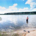Пляж и места для купания. Зеленевский пруд Аннинский район Воронежская область Россия